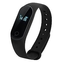 Fosa Blood Pressure Heart Rate Monitor Pedometer Sleep Monitoring Watch Bluetooth Wristband Bracelet(Black)