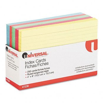 Universal® Recycled Index Cards INDEX,CARDS,4X6,RULED,AST RTA7001-09 (Pack of20) by UNVSL (Image #1)