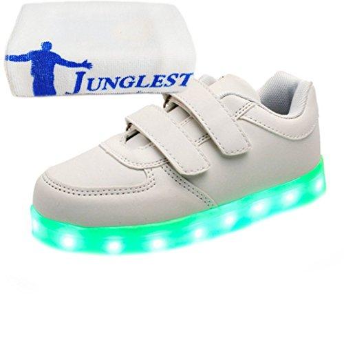 [Presente:pequeña toalla]JUNGLEST (TM) Unisex 7 Colors USB Carga LED Luz Luminosas Flash Zapatos Zapatillas de Depo c27