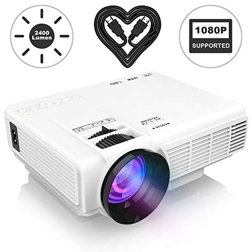 "2400 Lumens Mini Projector (Upgraded Version) LED Portable Projector, Video Projector with 170"" Display and 1080P Support, Compatible with Fire TV"