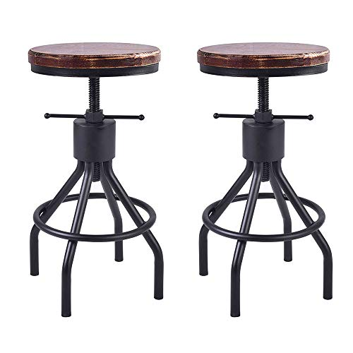 BOKKOLIK Industrial Bar Stool-Set of 2-Swivel Counter Coffee Chair-Extra Pub Height Adjustable 22-30 inch