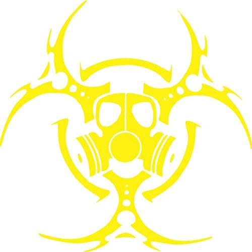 Biohazard Gas Mask Decal  Yellow