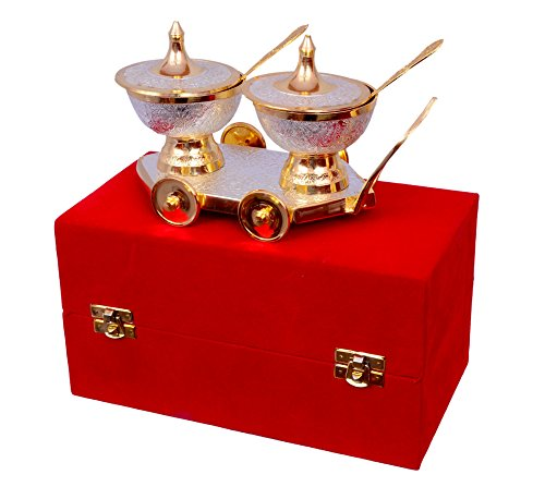 Trolley Bowl (Anand Crafts Silver & Gold Plated Table Trolley Set 8