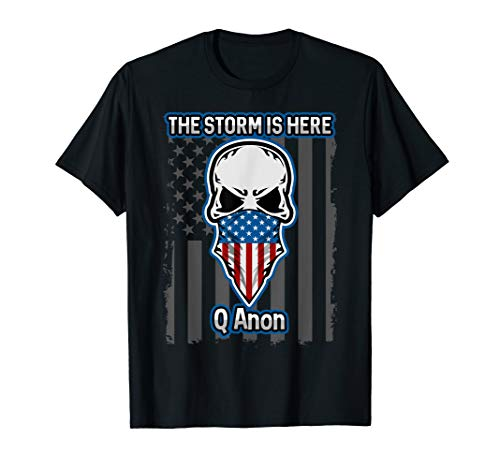 (Q Anon T-shirt American Flag Skull The Storm Is Here WWG1WGA)