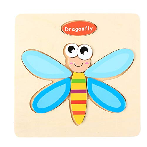 Amaping Wooden Puzzle Jigsaw Sets for Children Age 1-5 Years Old Preschool Puzzles Intelligence Development Educational Animal Puzzle Jigsaw Present Baby Kids Cognition Training Toy (Dragonfly)
