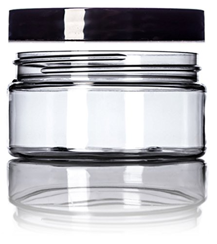 Single Wall Clear Jar (8 Ounce Clear Single Wall PET Plastic Jars with Black Twist Lids & Gift Card [Pack of 3])