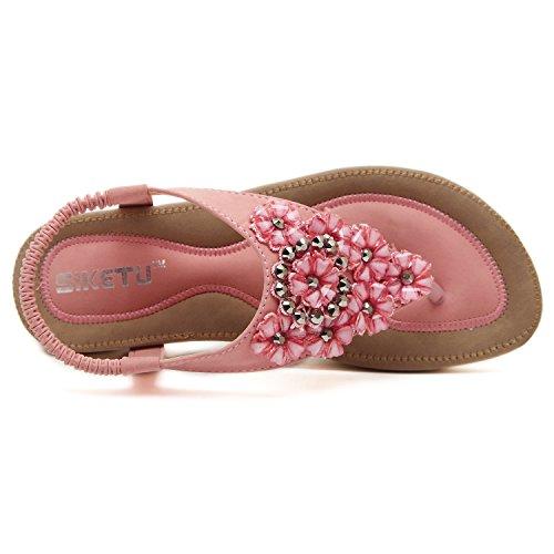Rose Sangle DQQ Femme rose Sandale T Fleur String Perles O0gTSq
