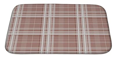 Gear New GN-BMAT-MF-A-1688421-3421 Brown Checkered Pattern Bath Rug Mat No Slip Microfiber Memory Foam