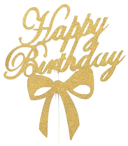 Flairs New York Happy Birthday Decorations Cake Toppers Party Props (Pack of 1 Cake Topper, Gold Glitter Happy Birthday Ribbon) ()