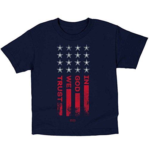 in God We Trust Flag, Kidz Tee, MD, Navy - Christian Fashion Gifts