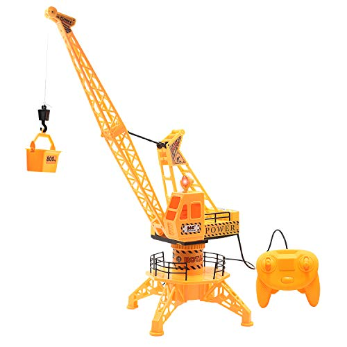 Jeestam RC Tower Crane Toy for Kids, Simulation DIY Wired Tower Crane Remote Control Engineering Vehicle Construction Toy Truck with 360° Rotation, Lights & Sound for Boys Gifts (Yellow)