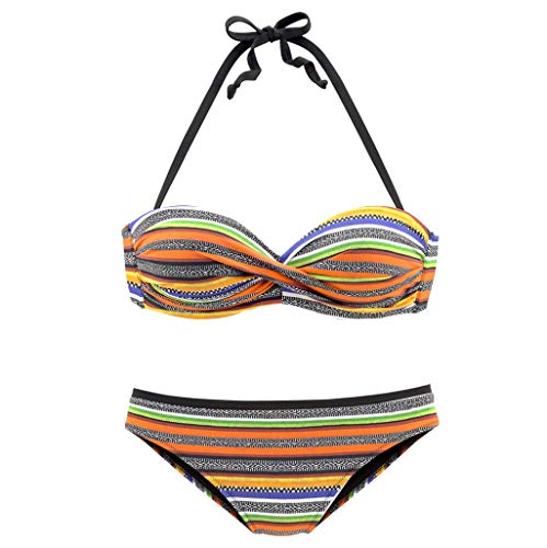 Tantisy ♣↭♣ Women's Colorful Striped Crossover 2PC Bra Swimsuit Low Waist Swimsuits for Women Sexy Beachwear