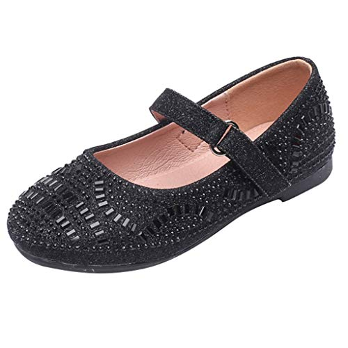 DealinM  Kid's Shoes,Toddler Children's Princess Shoes Belted Shoes with Diamonds Round Toe Shoes Casual Shoes Black ()