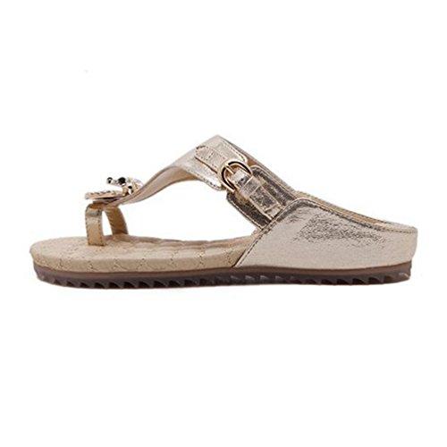 Or String avec Noir Beach Comfort Summer Femmes Platform Flat Boucle Sandales Strass Blanc Tongs wOXSvq