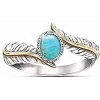 Vandokmai Elegant 925 Silver 18K Yellow Gold Filled Feathers Turquoise Ring (6)