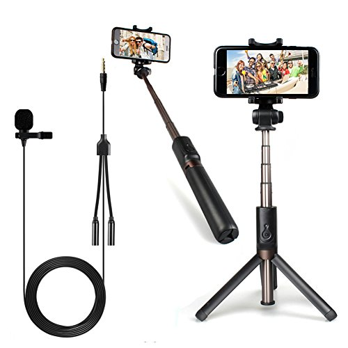 MAONO Selfie Stick Tripod Lavalier Mic AU-Z06H Aluminum Alloy Lightweight Integrated Stand Wireless Bluetooth Remote, Extra Cell Phone Stand, Portable Monopod Broadcast, YouTube,Facetime