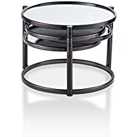 HOMES: Inside + Out SYY-16914C1 Olivia Contemporary Style Round Swivel Shelf Coffee Table, Black