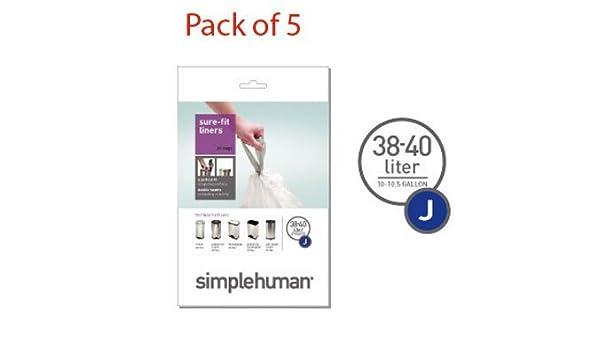 SimpleHuman bolsas de basura código de J, 38-40l (, 5 bolsas ...