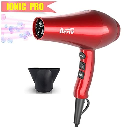 Professional Ionic Hair Dryer, Berta Lightweight Powerful 1875 Watt Ceramic Salon Blow Dryer Negative Ions DC Motor Cool Shot Button Hairdryer 2 Speed 3 Heat Settings with Concentrator Nozzle Cola Red - 41GdvyOKjtL - Professional Ionic Hair Dryer, Lightweight Powerful 1875 Watt Ceramic Salon Blow Dryer Negative Ions Cool Shot Button Hairdryer 2 Speed 3 Heat Settings with Concentrator Nozzle Cola Red
