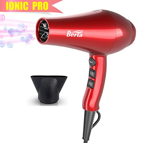 Professional Ionic Hair Dryer, Berta Powerful 1875 Watt Ceramic Salon Blow Dryer Negative Ions DC Motor Cool Shot Button Hairdryer 2 Speed 3 Heat Settings with Concentrator Nozzle Cola Red
