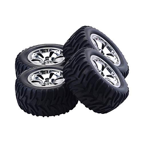 (RC Tires 4PCS RC Car Wheel Rim Tire for HPI,HSP Savage,XS,TM Flux,MT,ZDRacing,LRP 1/10 Truggy Monster Truck Rubber Tyre 12mm Hex)