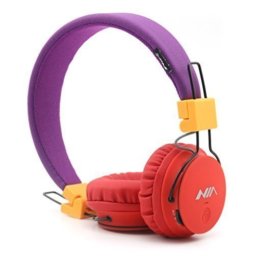 Kids Wireless Bluetooth 4.2 Headphones, GranVela X2 Lightweight Retro Foldable Multifunction Headphones with FM Radio, TF Card Mp3 Player and Microphone,3.5mm Jack (Red and Purple)