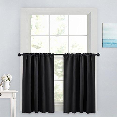 PONY DANCE Blackout Curtain Tiers - Window Treatment Rod Pocket Home Decor Small Panels Valances for Nursery/Bay Windows Bathroom, 42 x 36 inch, Black, 2 Pieces (Treatments Window Window Bay Valances)