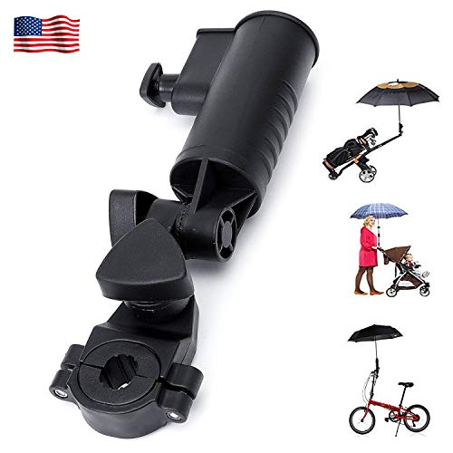 Golf Cart Umbrella Holder Adjustable Size Angle Stroller Attachment with Clamp, Durable Universal Accessories for Bike Stroller Fishing Beach Chair Wheelchair