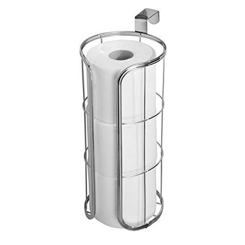 mDesign Modern Over the Tank Hanging Toilet Tissue Paper Roll Holder and Reserve for Bathroom Storage - Stores Three Extra Rolls, Holds Jumbo-Sized Rolls - Durable Metal Wire in Chrome Toilet Paper Caddy