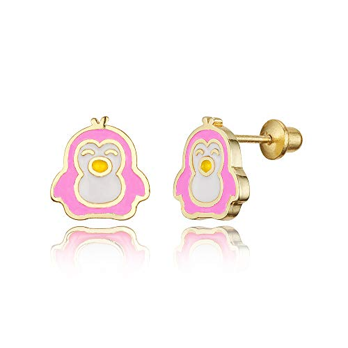 (14k Gold Plated Enamel Penguin Baby Girls Screwback Earrings with Sterling Silver Post)
