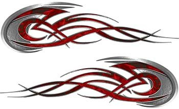 - REFLECTIVE Tribal Flames Motorcycle Tank Decal Kit in Red Inferno