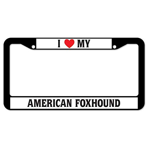 HuiyaoEC Custom I Heart My American Foxhound Licence Plate Frames, 12x6 Inch Stainless Steel Anti-Rust & Corrosion. 2 Round Holes & Screws for Standard Size US & Canada (The Fox And The Hound 2 Trailer)