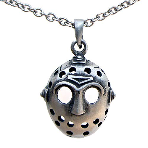OhDeal4U Horror Halloween Hockey Mask Jason Friday The 13th Pewter Pendant W Necklace (Stainless Steel Chain)
