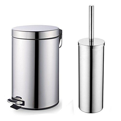 Classic Elegant Bathroom: Chrome 3L Pedal Bin And Toilet Brush Set For Bathroom