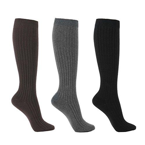 WOWFOOT Women's Knee High Socks Luxury Cotton For Girl Stylish Design Fun (C-Ribbed Type - 3pair)