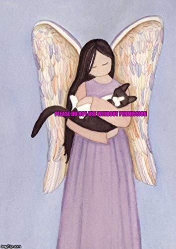 Lynch Tuxedo (Tux) cat cradled by Angel Folk Art Print