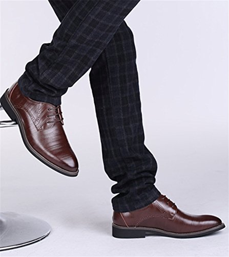 xie Affaires Casual Hommes Chaussures Grande Taille Style Britannique Cuir De Vache Chaussures En Cuir De Grande Taille Hommes Chaussures Robe Chaussures 37-47 Dark brown M3LfwOt