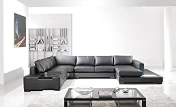 Amazon.com: Contemporary Plan Modern Black Leather Sectional Living Room Furniture: Furniture & Decor