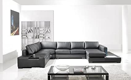 Amazoncom Contemporary Plan Modern Black Leather Sectional Living