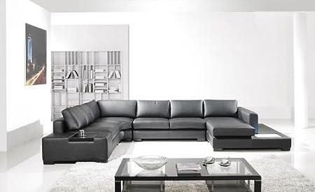 Amazon.com: Moderno piel Negro Seccionales salón muebles ...