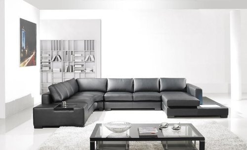 Contemporary Plan Modern Black Leather Sectional Living Room ()