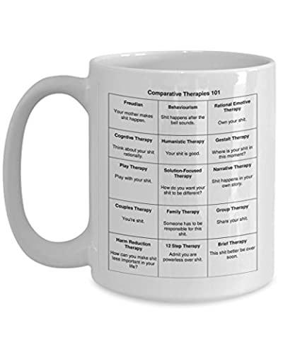 Mental Health Counselor Professionals Therapist Funny Gift Comparative Therapies 101 - Funny Shit Therapist GAG Gift Ceramic 15 oz White Coffee Mug By Blue Feather - Mens Social Web