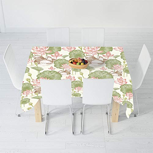 (Custom Tablecloth,Duck,for Home & Office & Restaurant Table Tea Table,90 X 60 Inch,Mandarin Ducklings in Lake Flowers Lilies)
