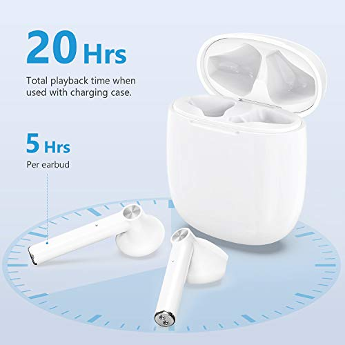 Wireless Earbuds, HSPRO Bluetooth 5.0 Earbuds Touch Control in-Ear True Wireless Headphones, 20 Hrs Playtime with Charging Case, Hi-Fi Stereo Earbuds with Built-in Mic for Sports and Work