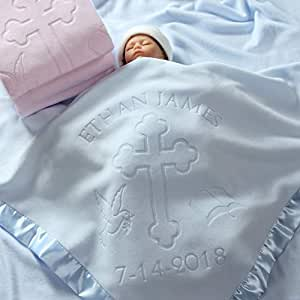 Custom Catch Personalized Baptism Baby Blanket Gift - Boy or Girl Christening - Name and Date (2 Text Lines)