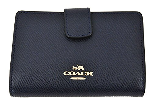 COACH Crossgrain Leather Medium Corner Zip Wallet Clutch (Midnight)