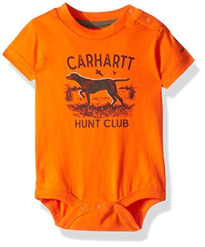 Carhartt Baby Boys Short Sleeve Bodysuit, Hunt Club (Blaze Orange), 9M