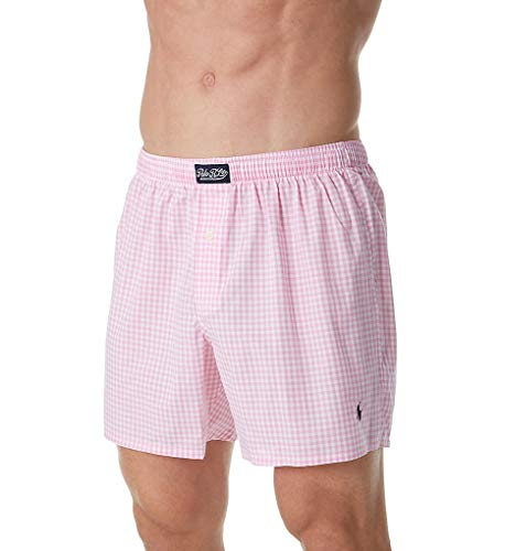 Polo Ralph Lauren 100% Cotton Classic Plaid Woven Boxer (L107HR) M/Pink Mini Gingham (Mens Boxer Classic Plaid)