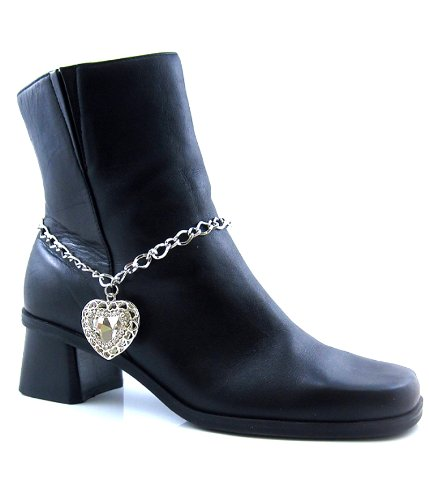 Anklet Boot Chain with Rhinestone Heart Charm Pendant in Antique Designer Fashion