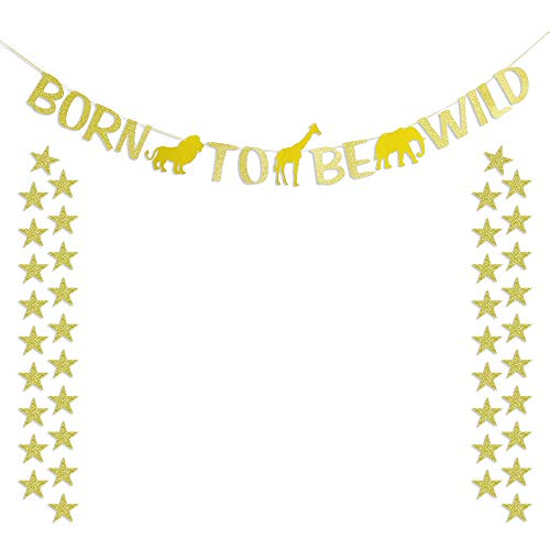 Born to Be Wild Glitter Gold Banner 50pcs Star Garlands Baby 1st Safari Birthday Baby Shower Wild One Party Backdrop -